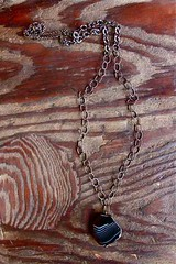 striped black agate @ metal and thread