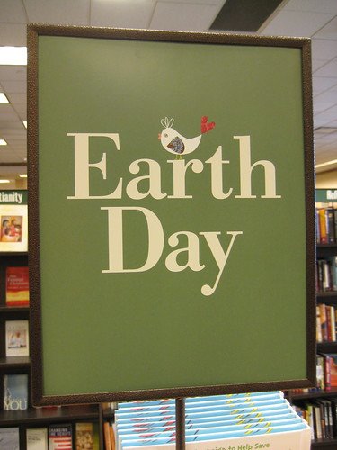 Earth day sign Barnes and noble