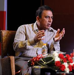 Sunil Gavaskar making a point