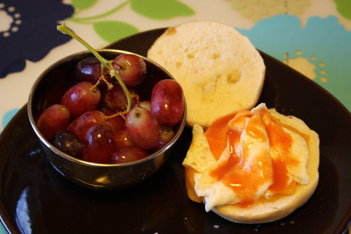red grapes, egg, mini bagel
