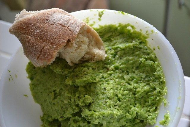 Ciabatta and garlic scape dip