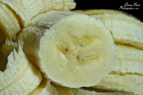 A banana's closeup.