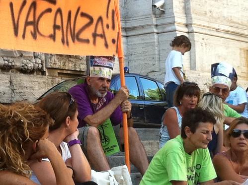 Il presidio a Roma al Ministero dell'istruzione del 6 luglio 2011