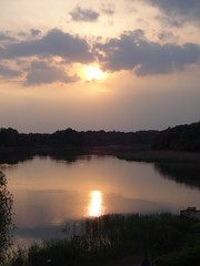 Sunset over Tisza Lake