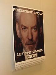 The archery practice target: President Snow