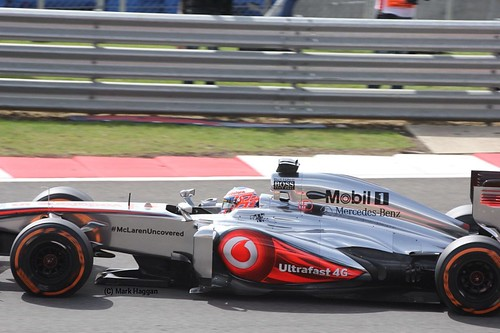 Jenson Button in his McLaren in Free Practice 3 for the 2013 British Grand Prix