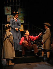 (L to R) Noa Solorio (Jane Banks), Kelly McCormick (Mary Poppins), Robert Creighton (Bert) and Ben Ainley-Zoll (Michael Banks) in Mary Poppins, produced by Music Circus at the Wells Fargo Pavilion July 8 - 13, 2014. Photos by Charr Crail.