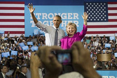 President Barack Obama appearing with former Secretary of State Hillary Clinton at Charlotte Convention Center, North Carolina, July 5, 2016