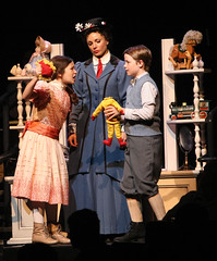 (L to R) Noa Solorio (Jane Banks), Kelly McCormick (Mary Poppins) and Ben Ainley-Zoll (Michael Banks) in Mary Poppins, produced by Music Circus at the Wells Fargo Pavilion July 8 - 13, 2014. Photos by Charr Crail.