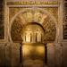 Mihrab da Mesquita de Córdoba. Na época áurea este mihrab(ou nicho de oração) guardava uma cópia dourada do Corão