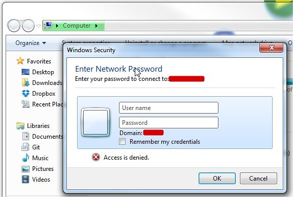 Windows Security ask for security info
