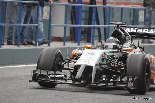 Sergio Perez in his Force India at Formula One Winter Testing 2014