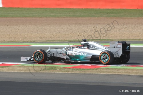 Lewis Hamilton in his Mercedes during Free Practice 1 at the 2014 British Grand Prix