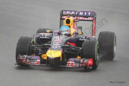 Sebastian Vettel in his Red Bull during Free Practice 3 at the 2014 British Grand Prix