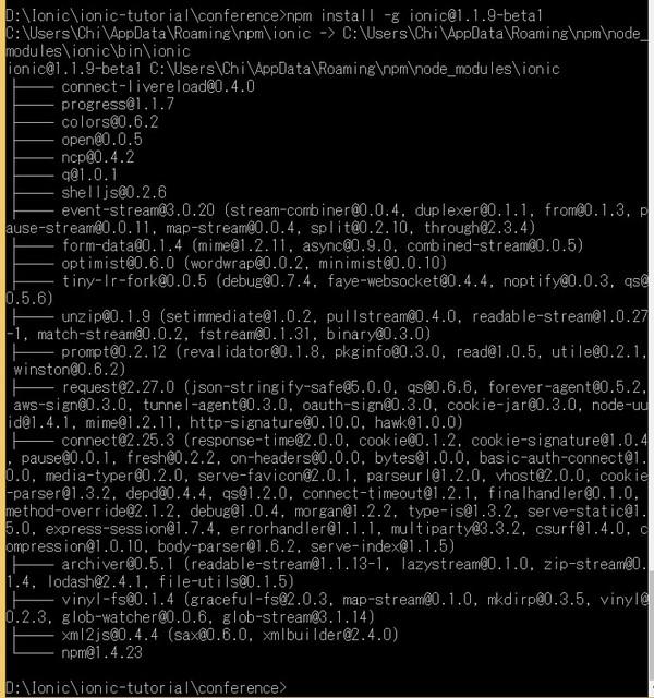 Install Ionic Framework 1.1.9 beta 1