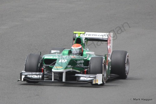 Rio Haryanto in his EQ8 Caterham during the first GP2 race at the 2014 British Grand Prix weekend