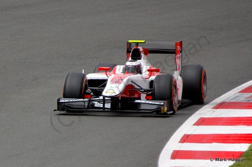 Stoffel Vandoorne in his ART Grand Prix Car during the first GP2 race at the 2014 British Grand Prix weekend