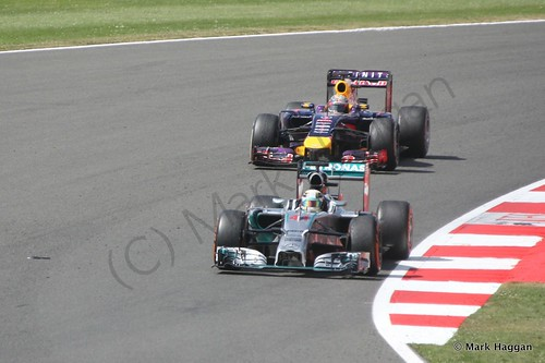 Lewis Hamilton and Sebastian Vettel during the 2014 British Grand Prix