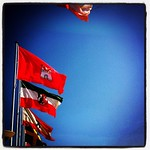 Flagparade #beach #flag #germany #trave #travemuende #lübeck #luebeck #sky