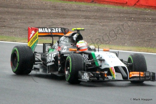 Sergio Perez in his Force India during Free Practice 3 at the 2014 British Grand Prix