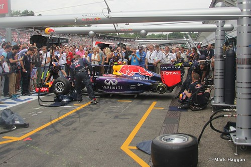 Red Bull practice before the 2014 German Grand Prix