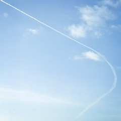 #sky #clouds #plane #blue #contrail