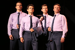 (l to r) Keith Hines, Hayden Milanes, Drew Seeley and Nicolas Dromard in the Broadway Sacramento presentation of JERSEY BOYS at the Community Center Theater Nov. 5 – 22, 2014. Photo by Joan Marcus.