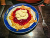 Waffle with jam and cream