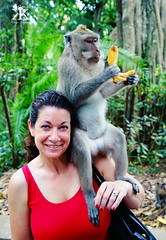 Bali 2015, Monkey Forest, Jody is bananas about monkeys! WM