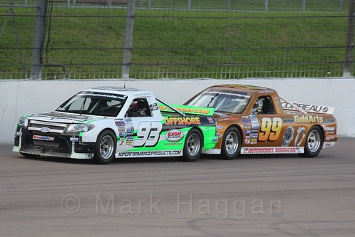 Michael Smith with Scott Bourne close behind in Pick Up Truck Racing, Rockingham, Sept 2015