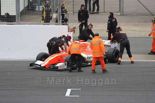 Alfonso Celis Jr being recovered from the Grid for the Formula Renault 3.5 Saturday Race at Silverstone