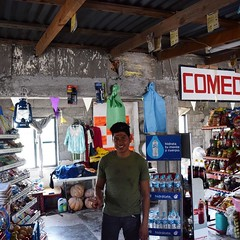 After three hours of trudging on dirt roads, I crested a hill and was greeted by a very well-kept and well-stocked tienda. Noah, the owner, saw me walking. So when I entered his shop he gave me a Gatorade and some snacks. Practiced my Spanish with him for