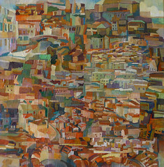 Città,tecnica mista su tela, 50×50 2008