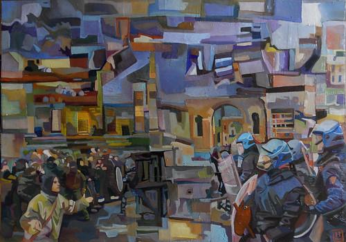 Revolution road, tecnica mista su tavola, 60×40, 2011