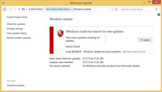 Code 80244019 Windows Update ran into a problem