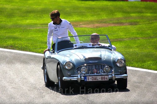 Jenson Button in the Drivers' Parade at the 2015 Belgium Grand Prix