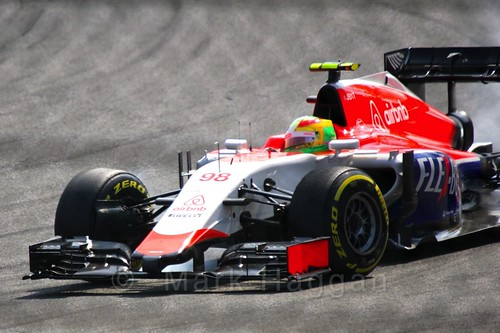 Roberto Merhi in qualifying for the 2015 Belgium Grand Prix