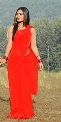 South Actress Deepika Das Hot in Red Sari Photos Set-5 (12)