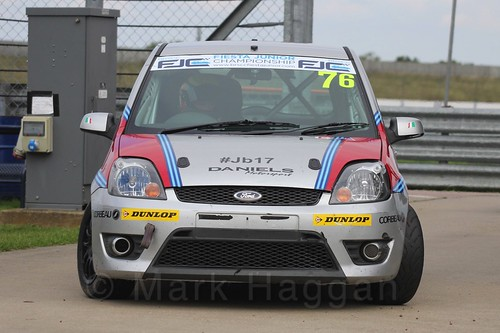 Carlito Miracco in scrutineering after Race 2 at the BRSCC Fiesta Junior Championship, Rockingham, Sept 2015