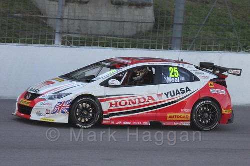 Matt Neal in BTCC action at Rockingham 2015