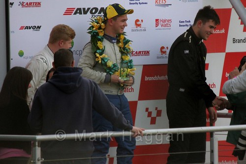Michael Higgs takes first place in the Fiesta Junior Championship, Brands Hatch, 2015