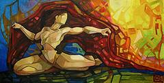 Risveglio, tecnica mista su tela, 50×100 2005