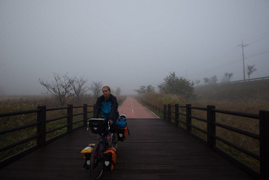 Foggy morning riding