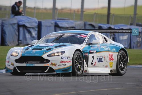 The Oman Racing Team Aston Martin V12 Vantage GT3 of Ahmad Al Harthy and  Alex MacDowall in British GT Racing at Donington, September 2015