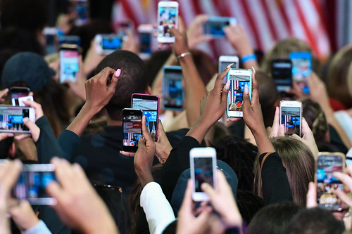 Students taking pictures of First Lady Michelle Obama during a rally at La Salle University for Democratic presidential candidate Hillary Clinton on September 28, 2016, Philadelphia