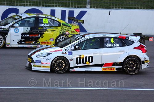 Mat Jackson in BTCC action at Rockingham 2015