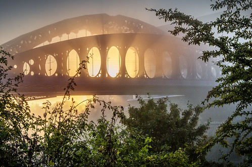 Wearmouth Bridge on a foggy morning, Sunderland