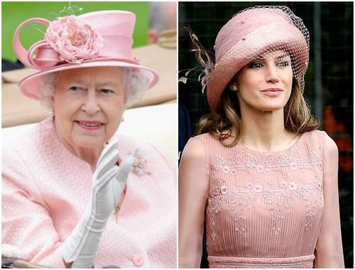 Rainha Elizabeth e Princesa Letizia, da Espanha.