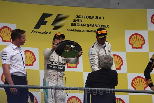 The Podium Celebrations at the 2015 Belgium Grand Prix