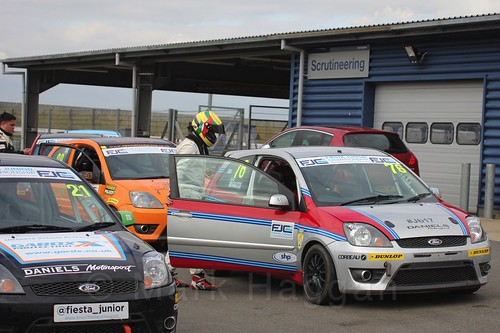 Carlito Miracco gets out of the car after Race 2 at the BRSCC Fiesta Junior Championship, Rockingham, Sept 2015